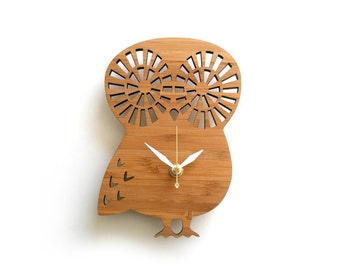 Cute Small Owl Wall Clock Modern heirloom Wood Eco friendly