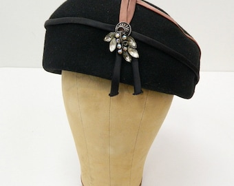 "1960s Black Wool Toque...""Bubble"" Style Hat...Mocha Satin Trim...Rhinestone Decoration"