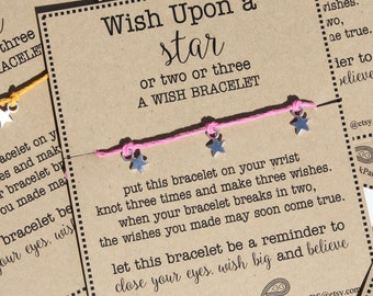 12 Wish Upon a Star Wish Bracelets With Custom Card - Great for Birthdays / Party Favors!