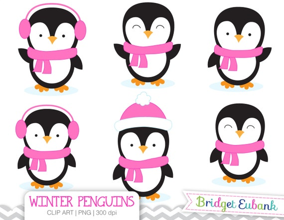 penguin clip art girl penguins clip art penguin clipart rh etsy com clip art penguin in the snow clip art penguin in santa sleigh