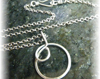 Unique Charm Holder and 18 Inch Sterling Silver Cable Chain E with Handmade Hook Clasp -Handmade to Order