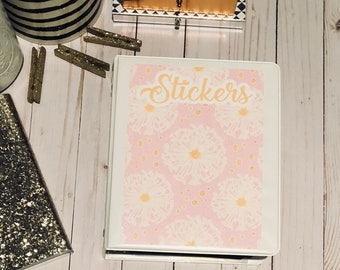 Customizable Pink Floral Sticker Binder Cover