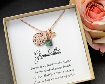 Personalized gift for women Mothers Day Gift Family Tree Bracelet Custom Name Necklace mom gift idea grandmother Grandma Birthstone Necklace
