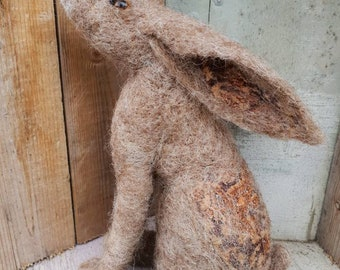 moon gazing hare needle felted collectable artist.  silk patch (c)  felt hare