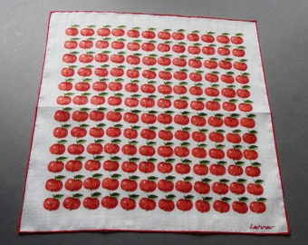 Apple Time - Vintage Swiss Lehner Cotton Hankie Handkerchief