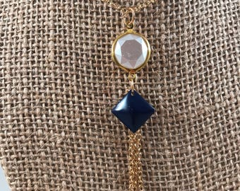 Blue and White Tassel Necklace, Gold Chain Tassel Necklace, Tassel Charm Necklace, Chain Tassel Necklace