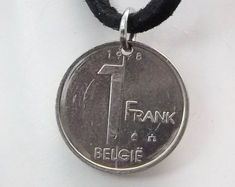 Belgium Coin Necklace, 1 Franc, Coin Pendant, Leather Cord, Men's Necklace, Women's Necklace, 1998