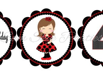 Ladybug Girl Birthday Party Cupcake Toppers DIY Printable File