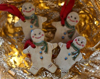 Handmade Ceramic Christmas Ornament - Scarf Gingerbread Man