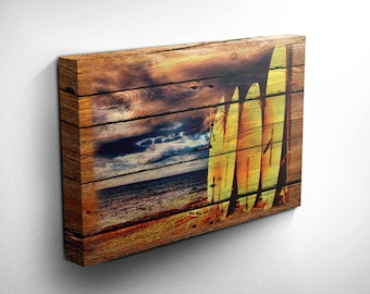 Surf Art/Surf Decor Wood Style Canvas Art - Surfboard Wall Art, Surfer Girl, Surfer Gift