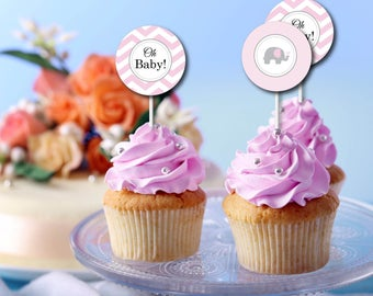 Oh Baby, Cupcake Toppers, Baby Shower, Decor, Buttons, Tags, Stickers, Pink, Elephant, Party Favors, Printable Instant Download T493A