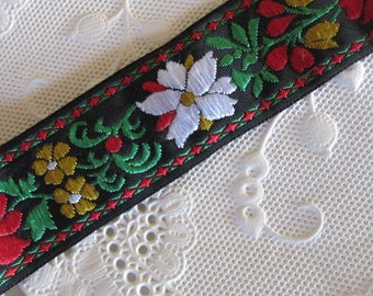 "2 Yards Folkloric Jacquard Trim 7/8"" Wide Folk Costume Trim Black Red Yellow White Green  HG04"