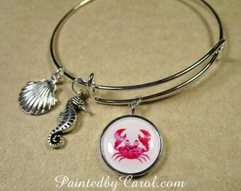 Crab Bangle Bracelet, Cartoon Crab Jewelry, Crab Bracelet, Crab Gifts, Beach Bracelet, Beach Jewelry, Nautical Bracelet, Sea Life Bracelet