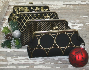 Gold Bridesmaid Clutches Personalized Clutches Gatsby Wedding - Choose Your Fabrics Metallic Gold Black