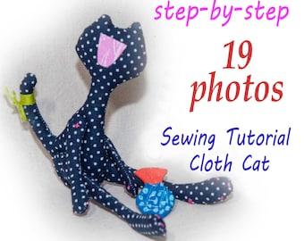 PDF cloth cat doll Pattern & Tutorial, cat dolls pattern, pdf dolls pattern, cloth doll pattern, rag doll pattern, pdf toy pattern, cat pdf