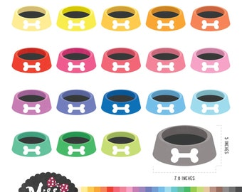 30 Colors Dog Food Bowl Clipart - Instant Download