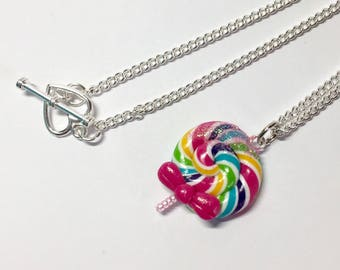 Rainbow lollipop necklace
