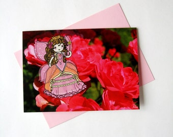 Greeting cards / Kids birthday cards : Pink Fairy-Princesse on a pink and red rose