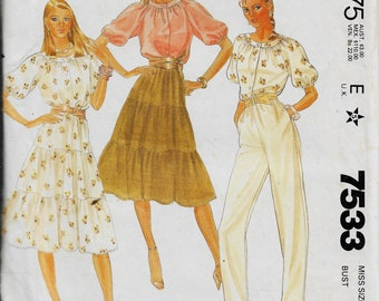 McCall's 7533     Misses  Vintage Top, Skirt and Pants Pattern       Size 8          Uncut