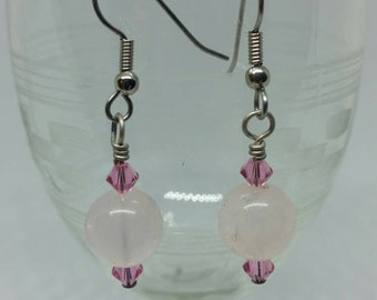 Rose Quartz and Swarovski Crystal Bicknell Earrings With Surgical Steel Ear Hooks