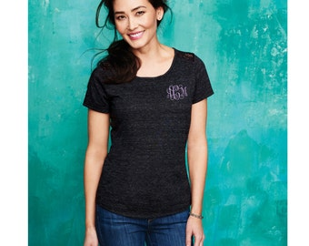 Monogrammed Ladies Tri-Blend Lace Tee. Womens Monogrammed Tee. Monogram Ladies Tee. Lace Back Tee. SM-DM441