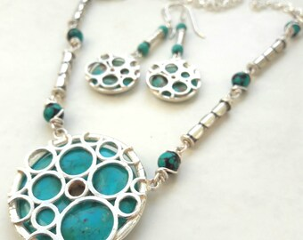 Turquoise set earrings necklace silver unique artisan design circular gemstone one of a kind handmade jewellery