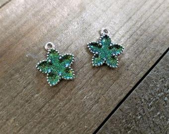 Star Pendants Silver Star Pendants Glitter Pendants Silver Star Charms Glitter Charms Sparkly Charms Green Star Charms Green Charms 2 pieces