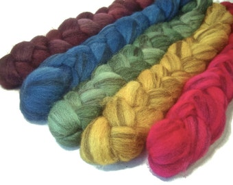 Handpainted Heathered BFL Wool Roving Bundle - 5 oz. ARCADE - Spinning Fiber