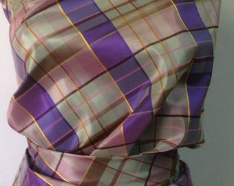 coupon of 3 meters polyester 10% lycra to Plaid woven dyed width 200 CM 80 GR M2