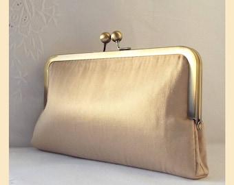 Wedding clutch bag, taupe clutch, silk purse, bridal purse, bridesmaid clutch, personalised purse