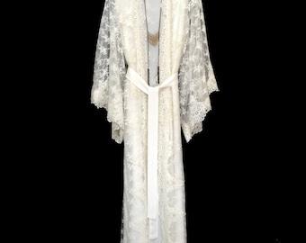 Lace kimono robe, full length lace robe, wedding lace kimono, lined lace kimono, ivory white lace robe, gift for bride