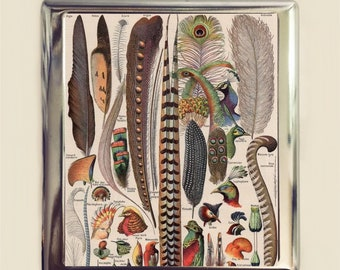 Bird Feather Cigarette Case Business Card ID Holder Wallet Feathers Litho Birds Victorian