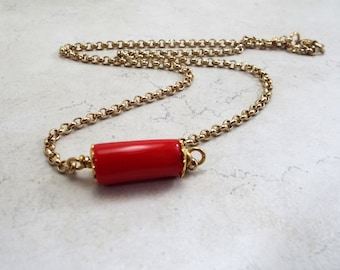 Lipstick Red Coral on Vintage Gold Plated Rolo Chain Necklace Fire Engine Red