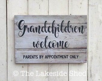 Grandchildren Welcome Parents By Appointment Only| Pallet Effect | MDF Sign | Funny Sign | Mother's Day | Grandmother | Grandparents