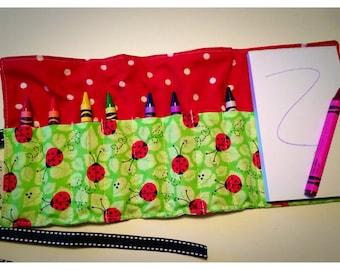 Crayon Roll Up - Crayon Holder - Crayon Organizer with Pad & Crayons - Spotty Ladybugs