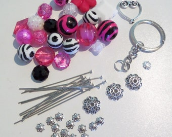 Sale! Complete DIY Cluster Keychain Kit. All items in photograph included (Q61)