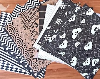 Scrap Pack - Japanese rice and origami paper ephemera, paper scraps pack 1, kraft paper , black and white