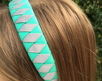 Bright Teal and Silver Sparkle Woven Ribbon Headband