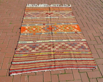 1950s Cicim Pastel Handwoven Turkish Kilim Rug