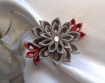 Hair Clip - Gray Red Kanzashi Flower - Hair Accessories Wedding Flowers