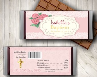 Baptism, Christening, Candy Bar Wrapper, Personalized Baptism, Baptism Gift, Custom Baptism, Christening, Girl Baptism, Favors, Decor