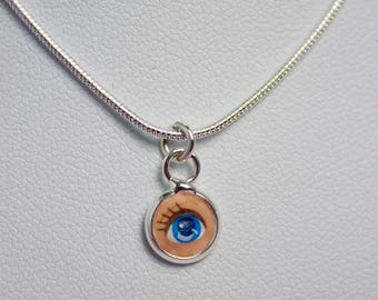 Blue Lovers Eye Necklace Child Barbie Doll Necklace   Dollfaced