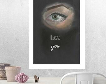 Eye Love You ART PRINT by M. Hutt / A4