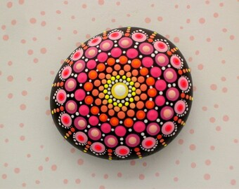 SHIPS FREE-Mandala stones painted rocks Spring Mothers Day gift under 60 unique ooak glossy dot art healing stone ombre pink orange yellow