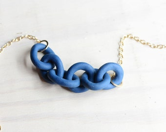 Navy Porcelain Harbor Necklace - Dock Chains - Harbor Jewelry - Beach Jewelry - Chain Necklace - blue navy minimalist - Porcelain and Stone