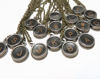 Vintage typewriter key necklace - brass - Initial necklace - typewriter letter - Vintage typewriter key - Vintage alphabet - key necklace