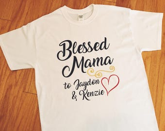 Blessed Mama T-shirt, Personalized Shirt, Children's Names Top, Kids' Names Tee, New Mom, Mother's Day Gift, Present for Mom, Birthday Gift