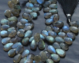 1/2 Strand,Very-Very,Finest, Blue Flashy Labradorite Faceted PEAR Shaped Briolettes, 10-11mm Long size,Promotional Price