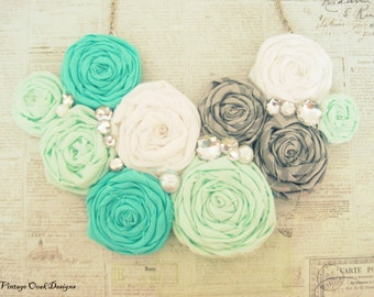 Mint Ombré Statement Necklace,Rosette Statement Necklace,Mint Rosette Necklace,Rosette Jewelry,Rosette Bib Necklace,Fabric Jewelry,Summer