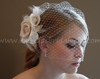 Birdcage Veil With Flower, Ivory Wedding Veil Double Swarovski Rhinestone Edge, Detachable Ivory And Champagne Flower Fascinator - MissHill
